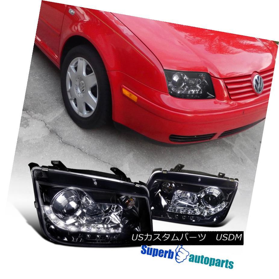 ヘッドライト For 1999-2004 Jetta Led DRL Projector Smoked Headlight Glossy Black SpecD Tuning 1999-2004 Jetta Led DRLプロジェクター用スモークヘッドライト光沢ブラック仕様チューニング