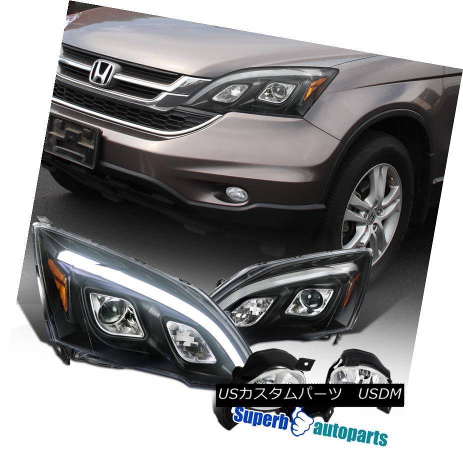 ヘッドライト 10-11 Fit Honda CRV Black LED DRL Projector Headlights+Driving Fog Lamps+Switch 10-11ホンダCRVブラックLED DRLプロジェクターヘッドライト+ドライ Fogランプ+スイッチ