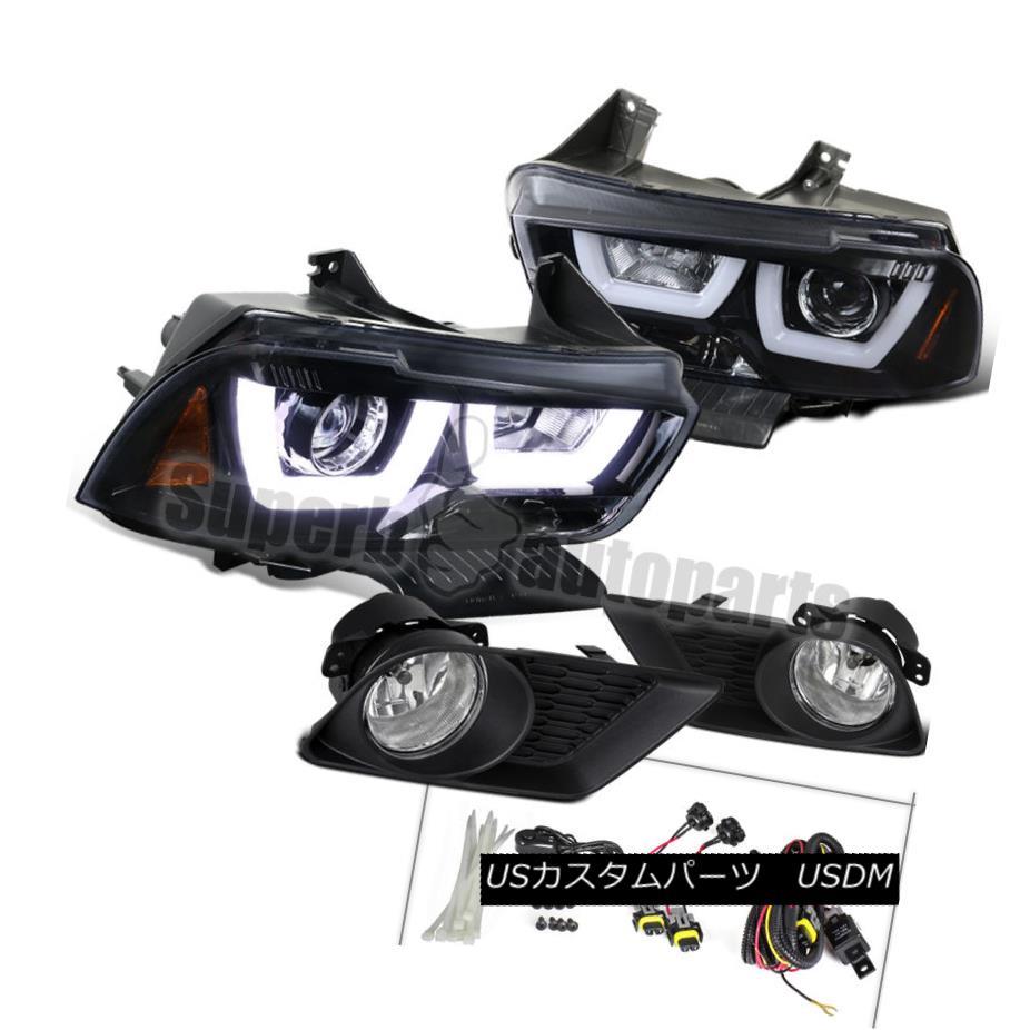 ヘッドライト 11-14 Charger Dual Iced Halo Glossy Black Projector Headlights+Clear Fog Lights 11-14充電器デュアルアイスヘイローグロッシーブラックプロジェクターヘッドライト+ Cle  arフォグライト