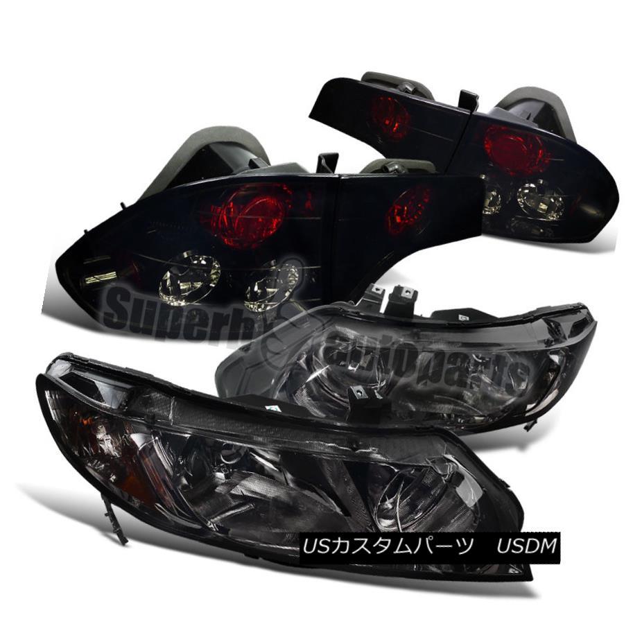 ヘッドライト For 2006-2011 Civic 4dr Sedan Diamond Headlight+Glossy blk Tail Brake Lights 2006?2011年シビック4drセダンダイヤモンドヘッドライト+グロス sy blkテールブレーキライト
