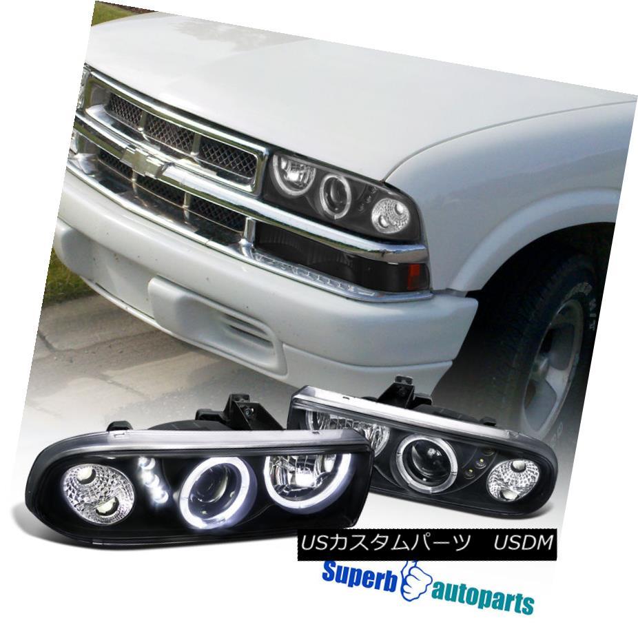 ヘッドライト 1998-2004 Chevy S10 Pickup Blazer SMD LED Dual Halo Projector Headlights Black 1998-2004シボレーS10ピックアップブレザーSMD LEDデュアルハロープロジェクターヘッドライトブラック