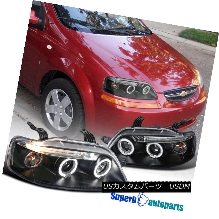ヘッドライト 2004-2008 Chevy Aveo LED Dual Halo Projector Headlights Lamps Black SpecD Tuning 2004-2008シボレー・アベオLEDデュアル・ハロー・プロジェクター・ヘッドライト・ランプブラック・スペック・チューニング