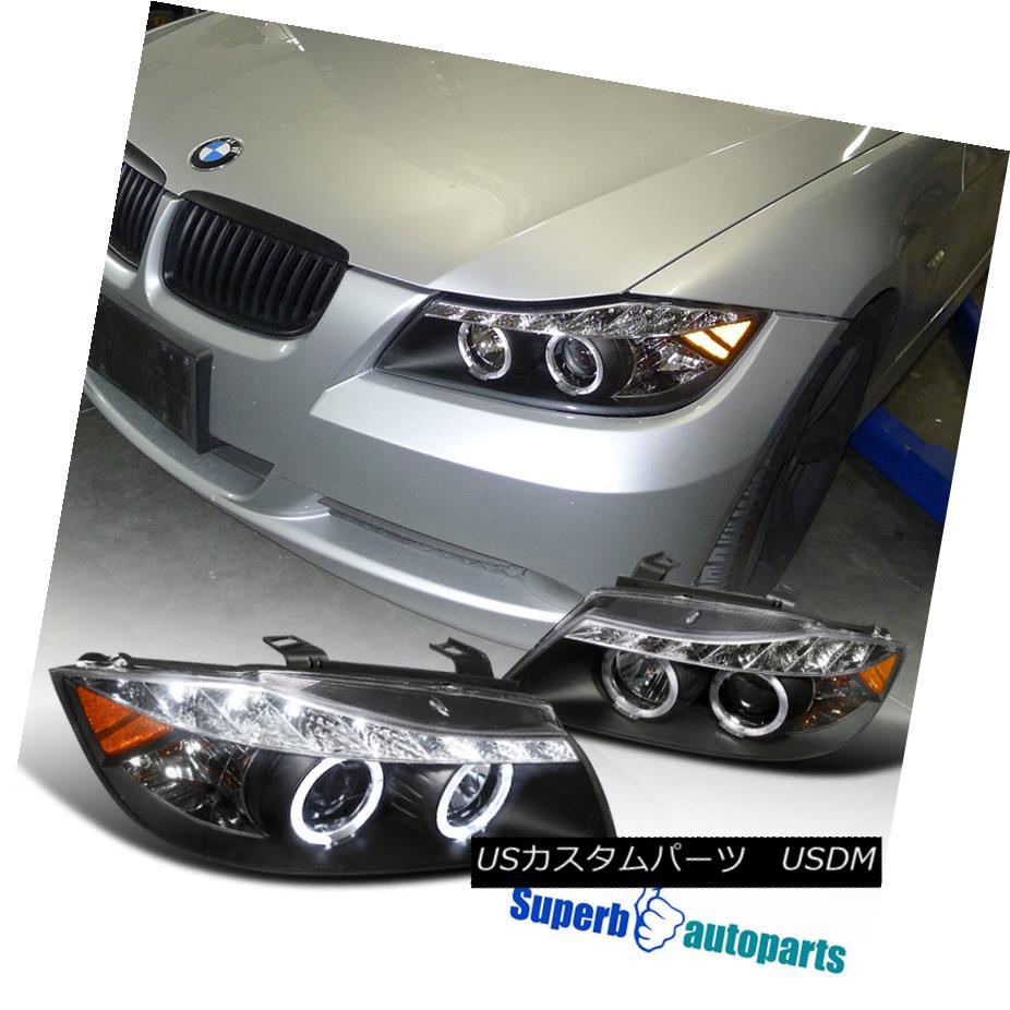 ヘッドライト 2006-2008 BMW E90 4D Halo Projector Headlights+Led DRL Strip Black SpecD Tuning 2006-2008 BMW E90 4Dハロープロジェクターヘッドライト+ Led DRLストリップブラックスペックチューニング
