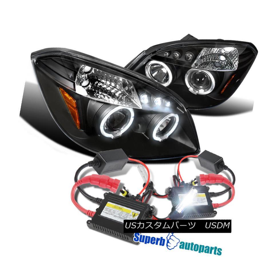 ヘッドライト 2005-2010 Chevy Cobalt Halo LED Projector Headlights G5 Black+H1 Slim HID Kit 2005-2010シボレーコバルトハローLEDプロジェクターヘッドライトG5ブラック+ H1スリムHIDキット