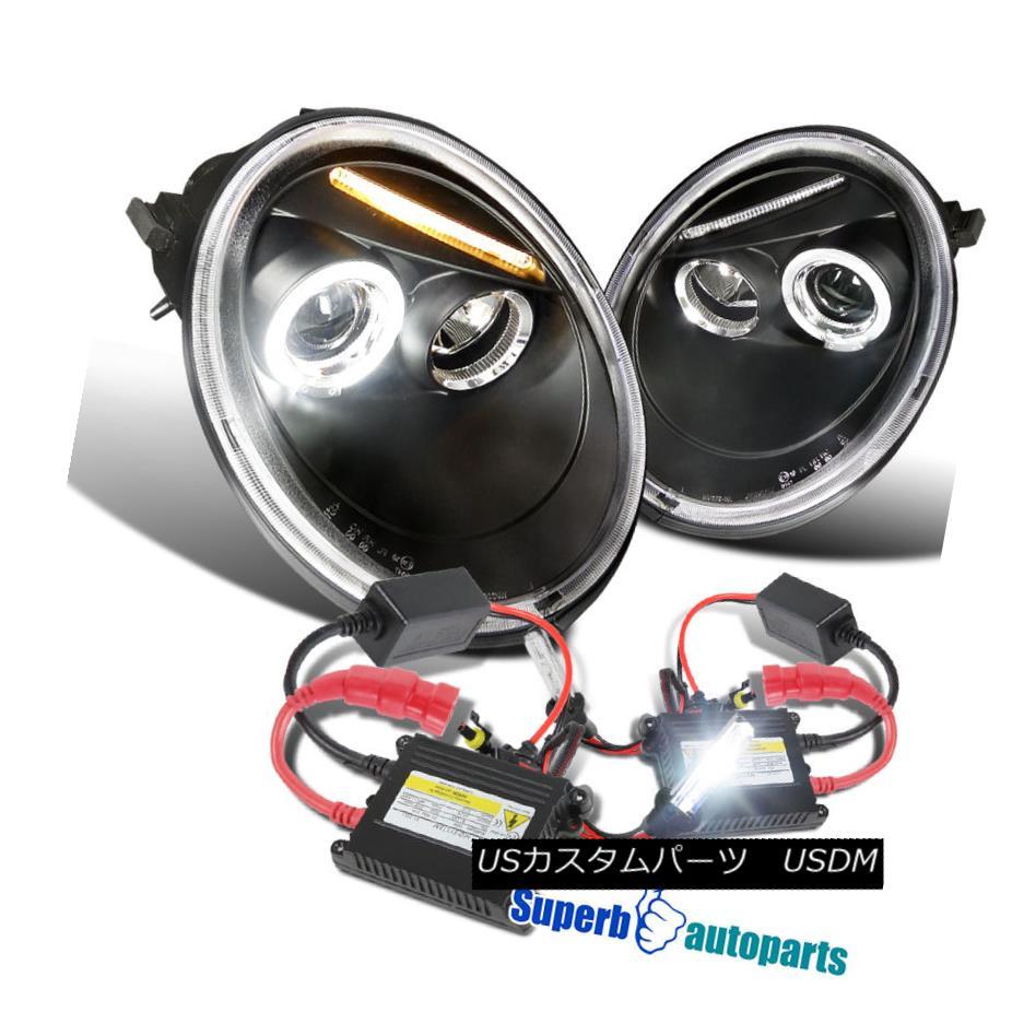 ヘッドライト For 1998-2005 VW Beetle Halo Projector Headlights Black+H1 Slim HID Kit 1998?2005年のVWビートルハロープロジェクターヘッドライトブラック+ H1スリムHIDキット