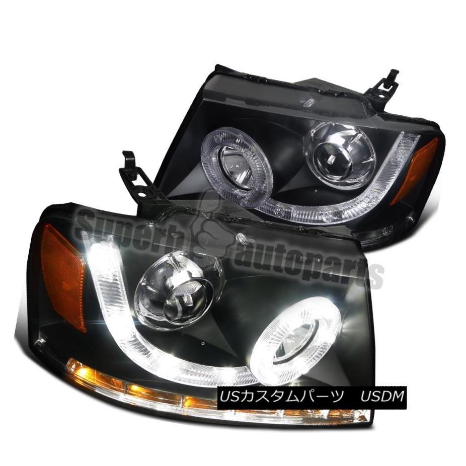 ヘッドライト 2004-2008 Ford F150 Lincoln Mark LT SMD LED Signal DRL Black Projector Headlight 2004-2008フォードF150リンカーンマークLT SMD LED信号DRLブラックプロジェクターヘッドライト