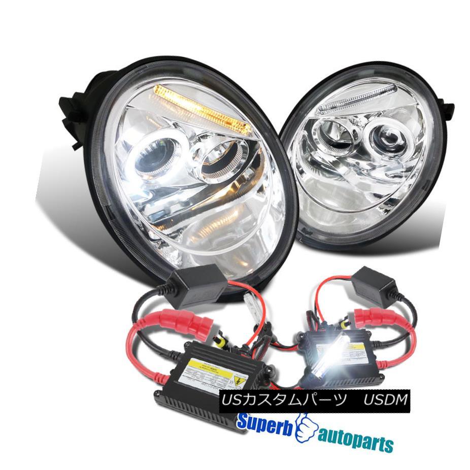 ヘッドライト For 1998-2005 Beetle Halo LED Projector Headlights Chrome+H1 Slim HID Kit 1998 - 2005年ビートルハローLEDプロジェクターヘッドライトクロム+ H1スリムHIDキット