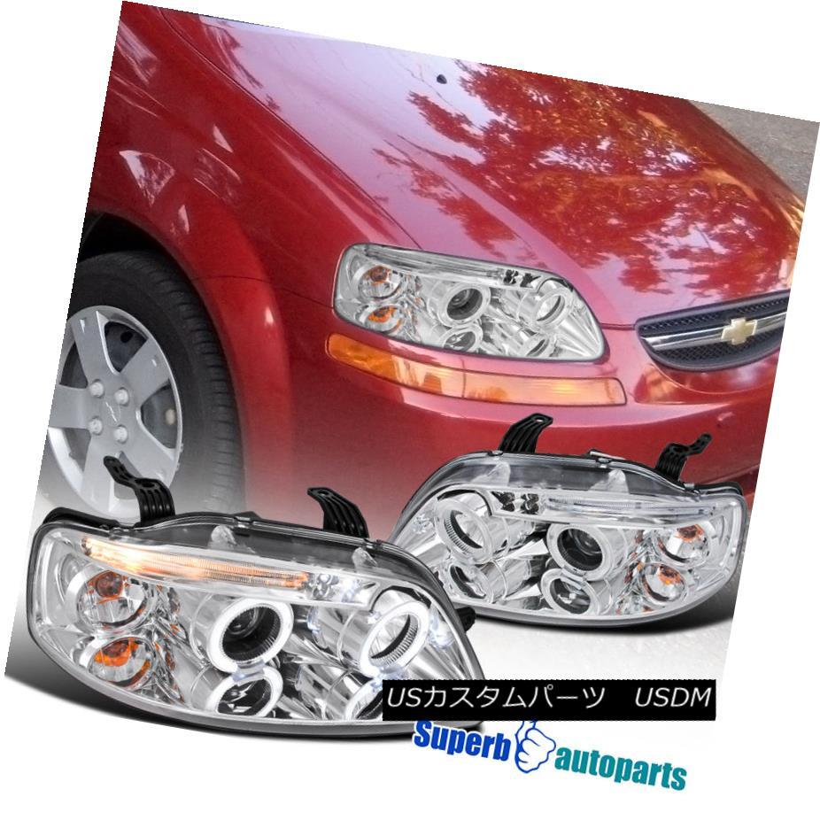 ヘッドライト 2004-2008 Chevy Aveo LED Dual Halo Clear Projector Headlight Chrome SpecD Tuning 2004-2008シボレー・アベオLEDデュアル・ハロ・クリア・プロジェクター・ヘッドライトクローム・スペック・チューニング