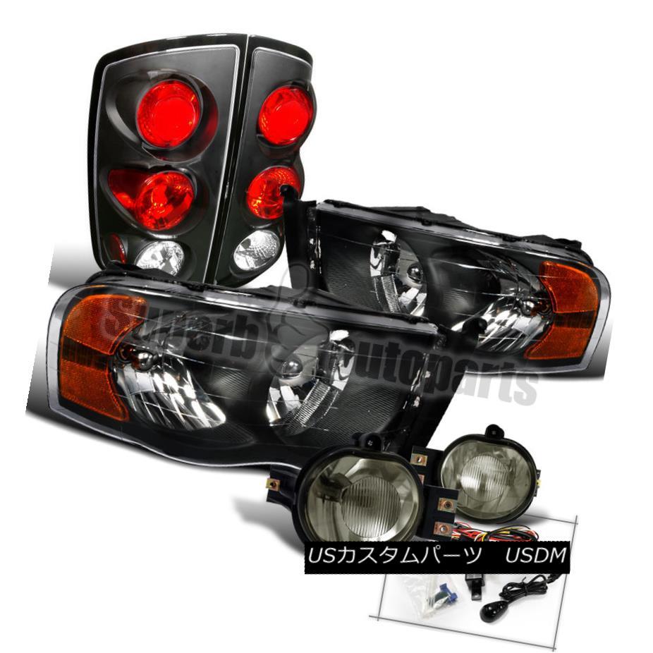 ヘッドライト 2002-2005 Dodge Ram 1500 2500 3500 Headlight+Smoke Fog Lamps+Tail Lamps Black 2002-2005 Dodge Ram 1500 2500 3500ヘッドライト+スモーク eフォグランプ+テールランプブラック