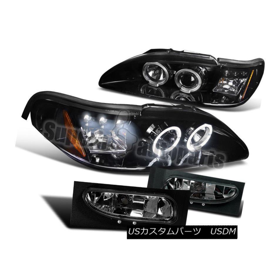 ヘッドライト 1994-1998 Ford Mustang LED Halo Projector Headlights Glossy Black+Fog Lamp Smoke 1994-1998 Ford Mustang LED Haloプロジェクターヘッドライト光沢ブラック+フォグランプ煙
