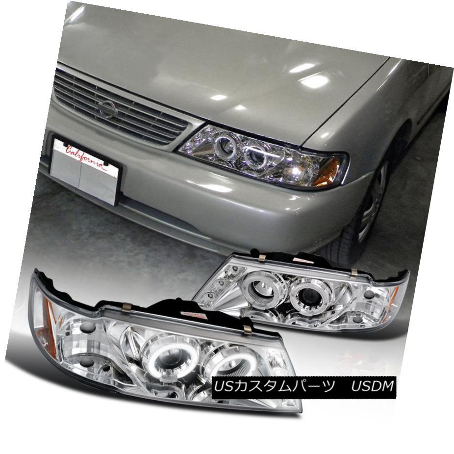 ヘッドライト For 1995-1999 Sentra Dual Halo LED Projector Headlights Head Lamps Chrome 1995-1999 Sentra Dual Halo LEDプロジェクターヘッドライトヘッドランプクローム用