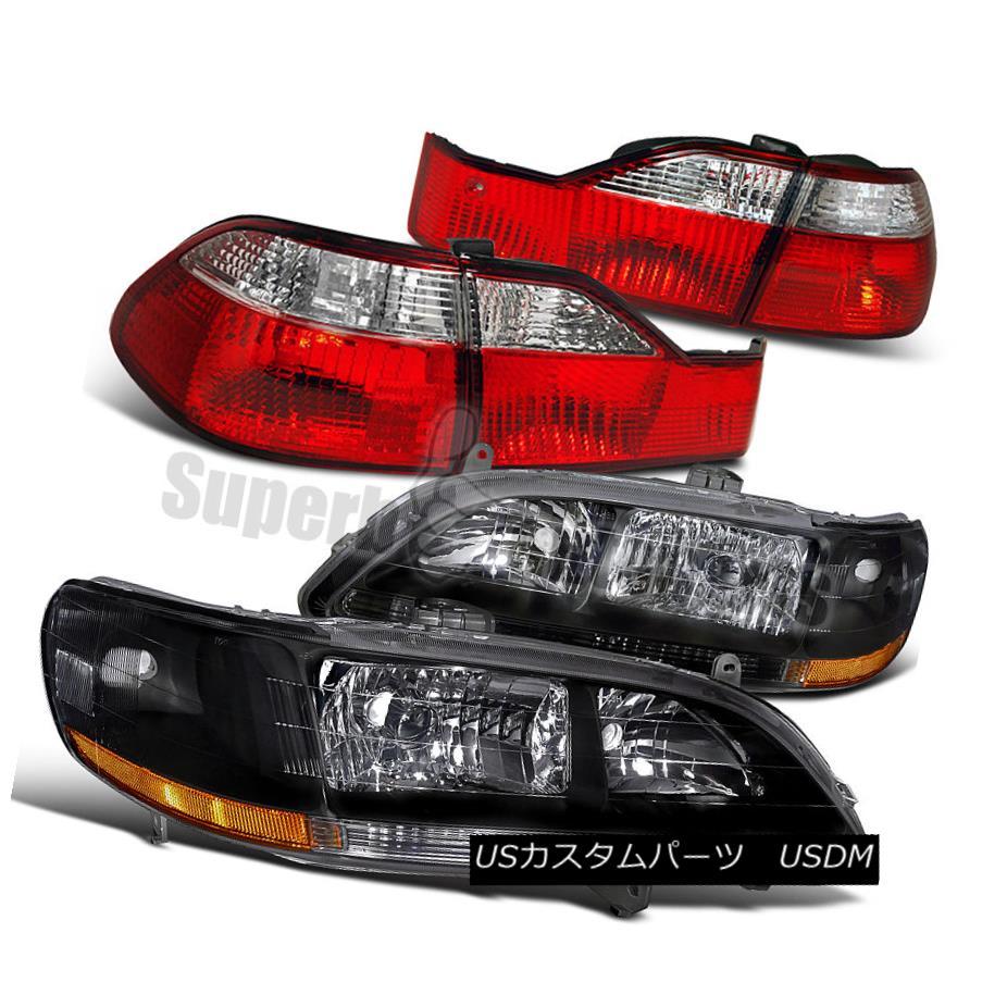 ヘッドライト For 1998-2000 Honda Accord 4dr Sedan Headlights Black+Tail Lights Depo Red/Clear 1998-2000ホンダアコード4drセダンヘッドライトブラック+テールライトデポレッド/クリア