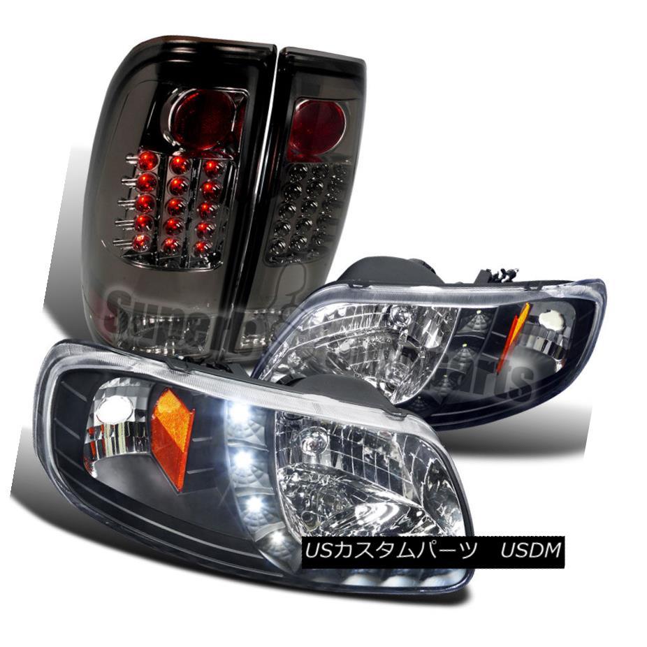 ヘッドライト 1997-2003 F150 Style Side SMD LED Headlights Black+Tail Brake Lamps Smoke Lens 1997-2003 F150スタイルサイドSMD LEDヘッドライトブラック+テールブレーキランプスモークレンズ
