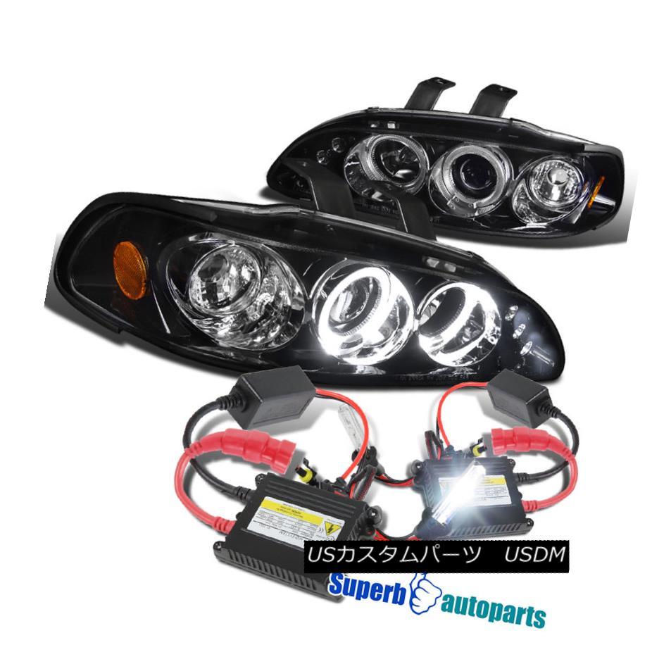 ヘッドライト For 1992-1995 Civic Halo Led Projector Headlight Glossy Black+H1 Slim HID Kit 1992-1995 Civic Halo Ledプロジェクターヘッドライト光沢ブラック+ H1スリムHIDキット