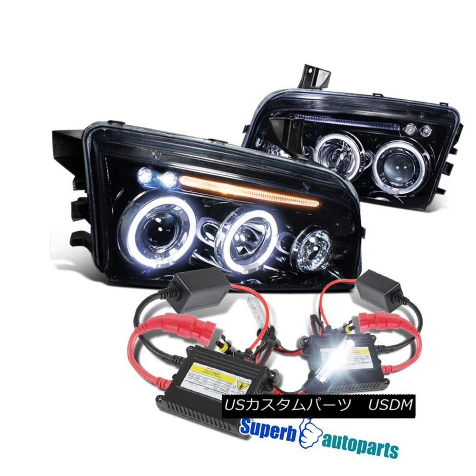 ヘッドライト 2006-2010 Charger LED Halo Smoke Projector Headlights Glossy Black+H1 Slim HID 2006-2010充電器LEDハロー煙プロジェクターヘッドライト光沢ブラック+ H1スリムHID
