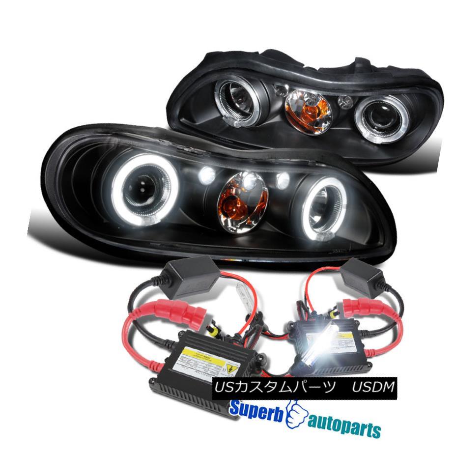 ヘッドライト 1997-2003 Chevy Malibu LED Halo Projector Headlights Lamps Black+H1 Slim HID Kit 1997-2003シボレーマリブLEDハロープロジェクターヘッドライトランプブラック+ H1スリムHIDキット