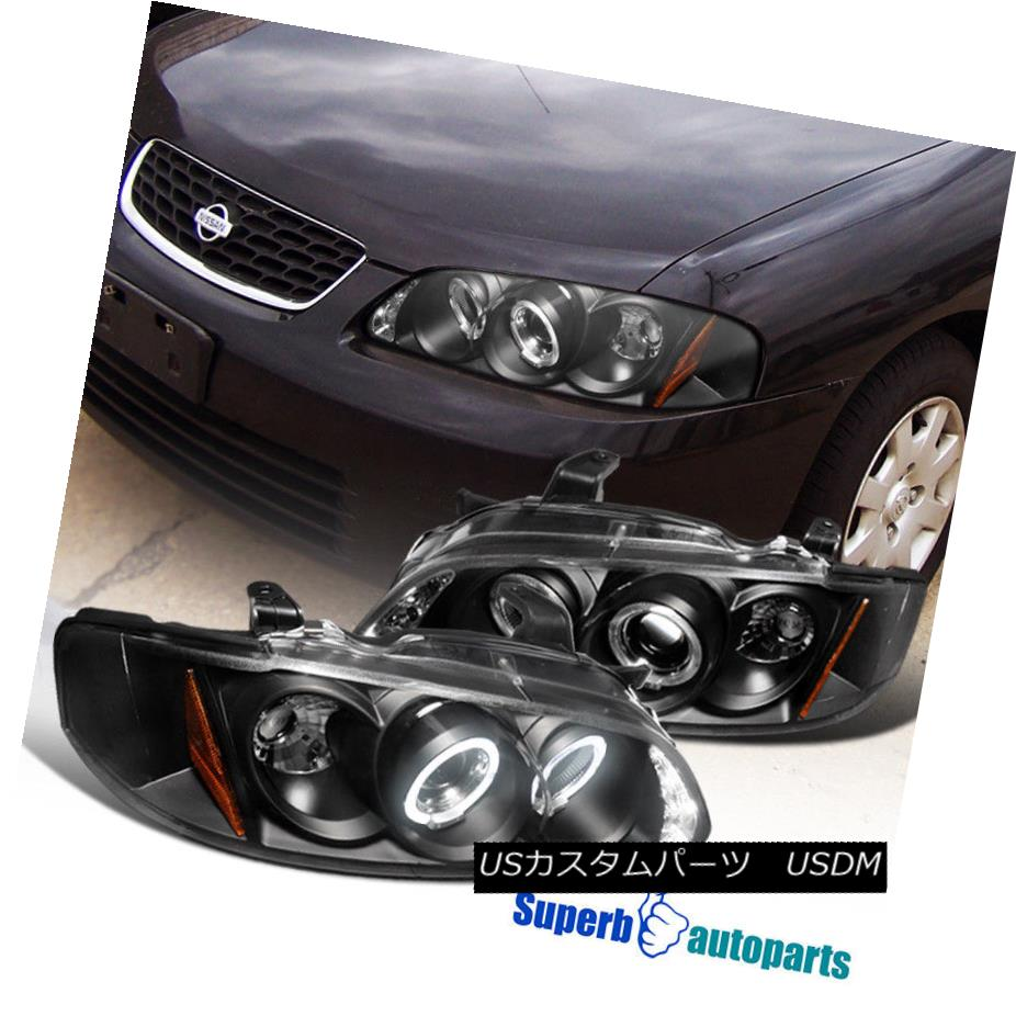 ヘッドライト For 2000-2003 Sentra Halo Led Projector Headlights Lamps Black SpecD Tuning 2000-2003年Sentra Halo LedプロジェクターヘッドライトランプBlack SpecD Tuning