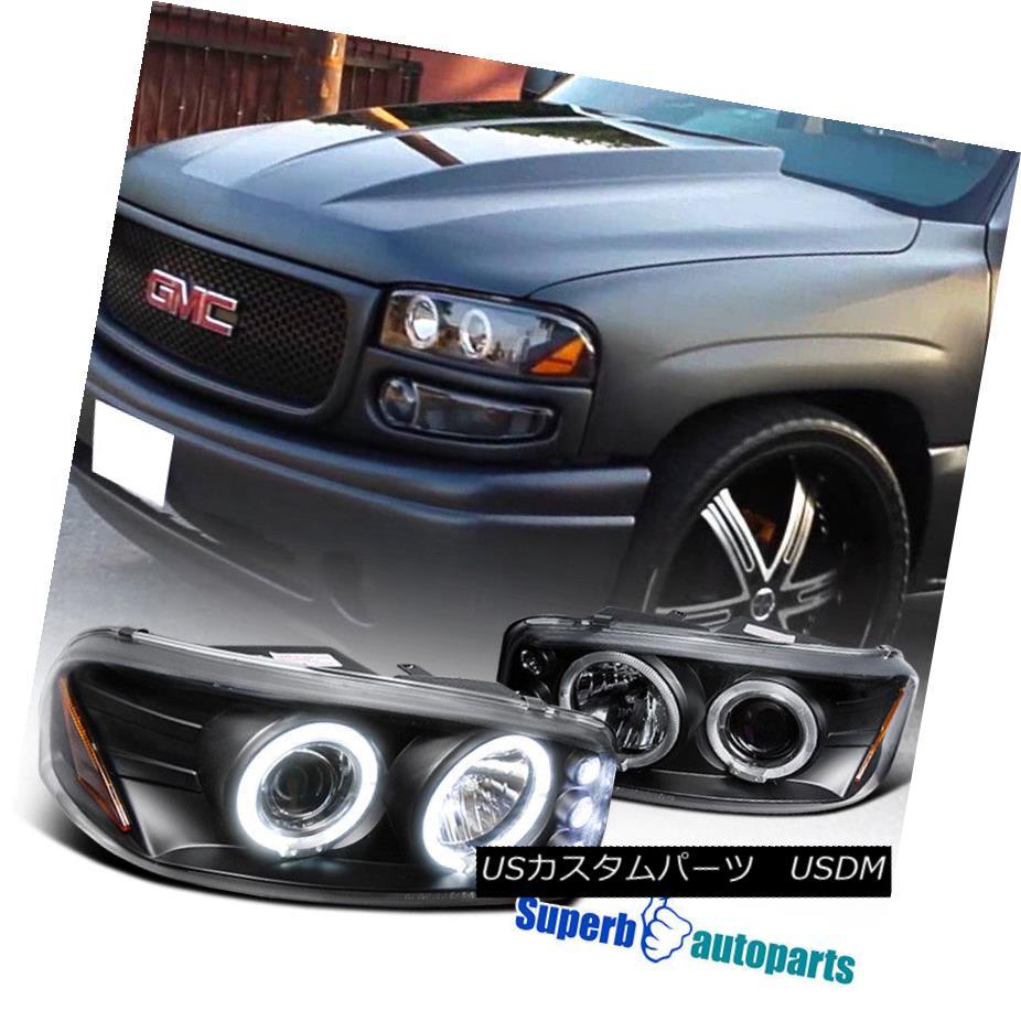 ヘッドライト 1999-2006 GMC Sierra Denali Halo Projector Led Headlights Black SpecD Tuning 1999-2006 GMCシエラ・デナリ・ハロー・プロジェクターがヘッドライトを点灯しました。ブラック・スペック・チューニング