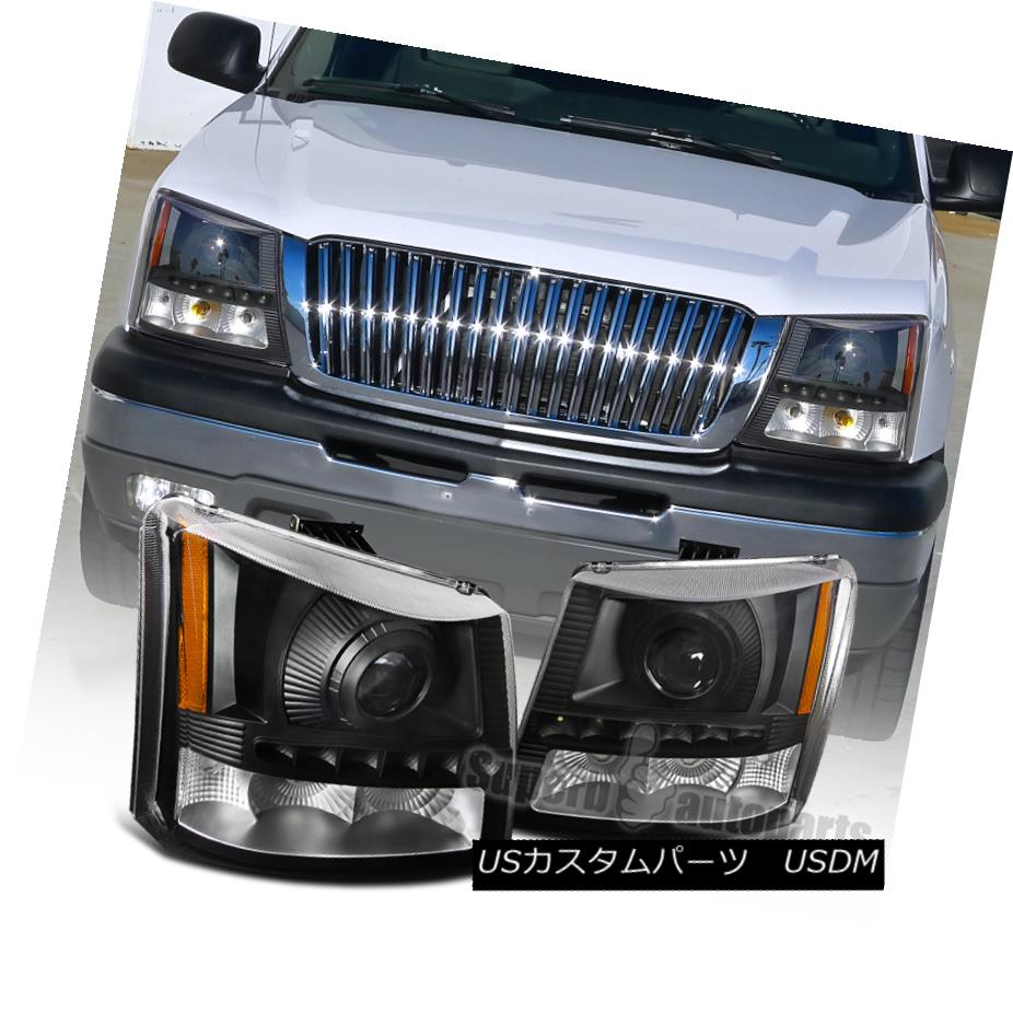 ヘッドライト 2003-2007 Chevy Silverado SMD LED DRL Projector Headlights Head Lamps Black 2003-2007シボレーシルバラードSMD LED DRLプロジェクターヘッドライトヘッドランプブラック