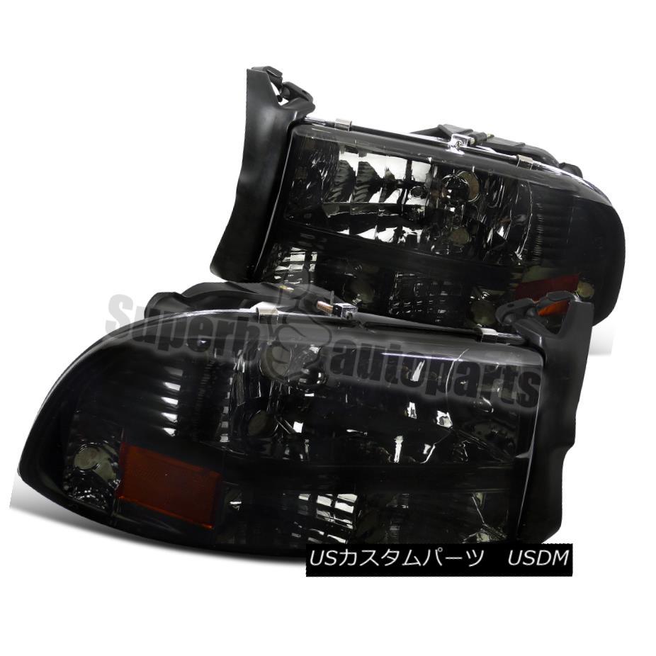 ヘッドライト 1997-2004 Dodge Dakota Euro Head Lights Smoke Bumper Signal 1997-2004ダッジダコタユーロヘッドライトスモークバンパーシグナル