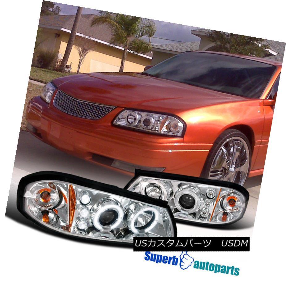 ヘッドライト 2000-2005 Chevy Impala Halo LED Projector Headlights Chrome/ Clear 2000-2005 Chevy Impala Halo LEDプロジェクターヘッドライトクローム/クリア
