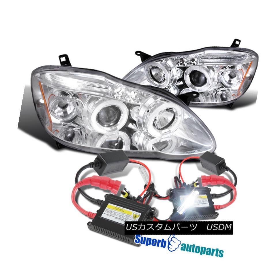 ヘッドライト 2003-2008 Toyota Corolla Halo LED Projector Headlights Chrome+H1 Slim HID Kit 2003-2008 Toyota Corolla Halo LEDプロジェクターヘッドライトChrome + H1スリムHIDキット