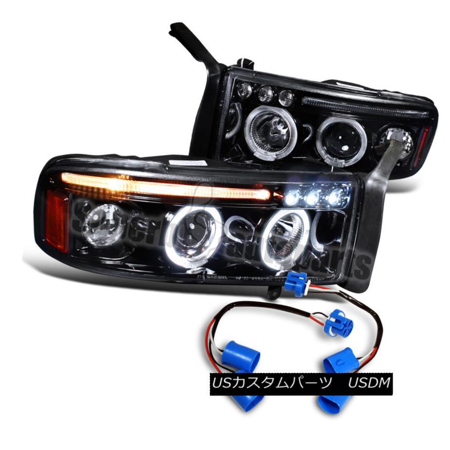 ヘッドライト 1999-2001 Dodge Ram Sport Pack LED Halo Projector Smoke Headlights Glossy Black 1999-2001 Dodge Ram Sport Pack LEDハロープロジェクタースモークヘッドライト光沢ブラック