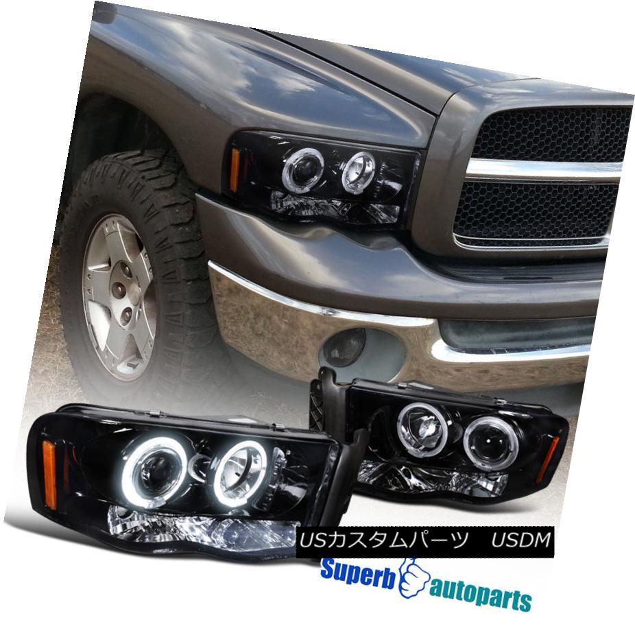 ヘッドライト 2002-2005 Dodge Ram 1500 2500 Smoke Halo LED Projector Headlights Glossy Black 2002-2005 Dodge Ram 1500 2500 Smoke Halo LEDプロジェクターヘッドライトGlossy Black