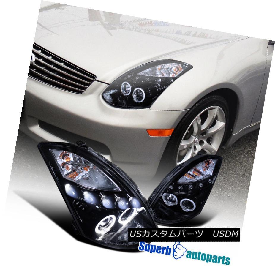 ヘッドライト For 2003-2007 G35 2D Dual Halo LED Projector Smoked Headlights Glossy Black 2003?2007年G35 2DデュアルハローLEDプロジェクター煙霧ヘッドライトGlossy Black