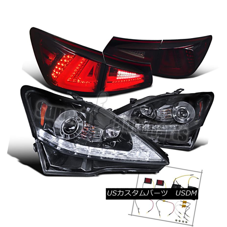 ヘッドライト 2006-2008 Lexus IS250 SMD LED DRL Signal Projector Headlights+Tail Lamp Smoke 2006-2008 Lexus IS250 SMD LED DRLシグナルプロジェクターヘッドライト+タイ lランプスモーク