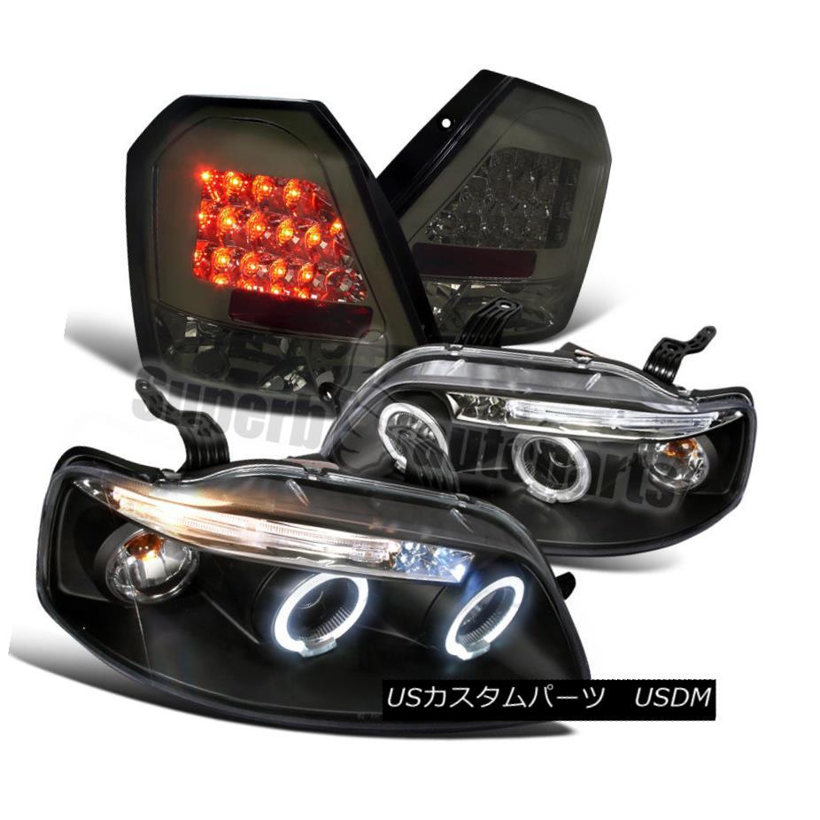 ヘッドライト 2004-2008 Chevy Aveo Hatchback Black Projector Headlights+LED Smoke Tail Lights 2004-2008シボレーAveoハッチバックブラックプロジェクターヘッドライト+ LED煙テールライト