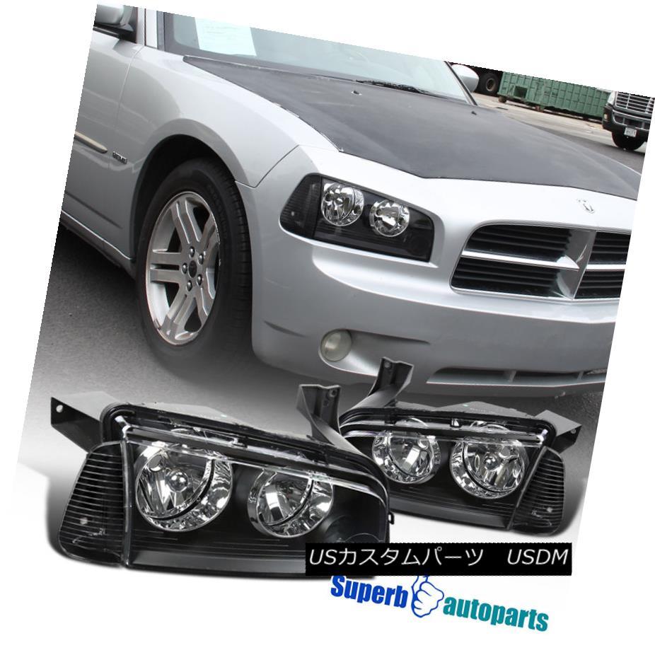 ヘッドライト 2006-2010 Dodge Charger Euro Black Clear Headlights Replacement w/ Corner Lamps 2006-2010ダッジチャージャーユーロブラッククリアヘッドライト交換/コーナーランプ
