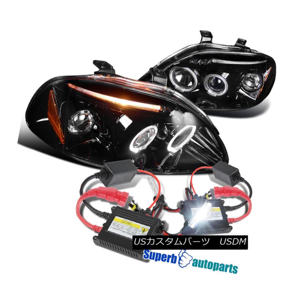 ヘッドライト For 1996-1998 Civic Led Halo Projector Headlight Glossy Black+H1 Slim HID Kit 1996-1998 Civic Led Haloプロジェクターヘッドライト光沢ブラック+ H1スリムHIDキット