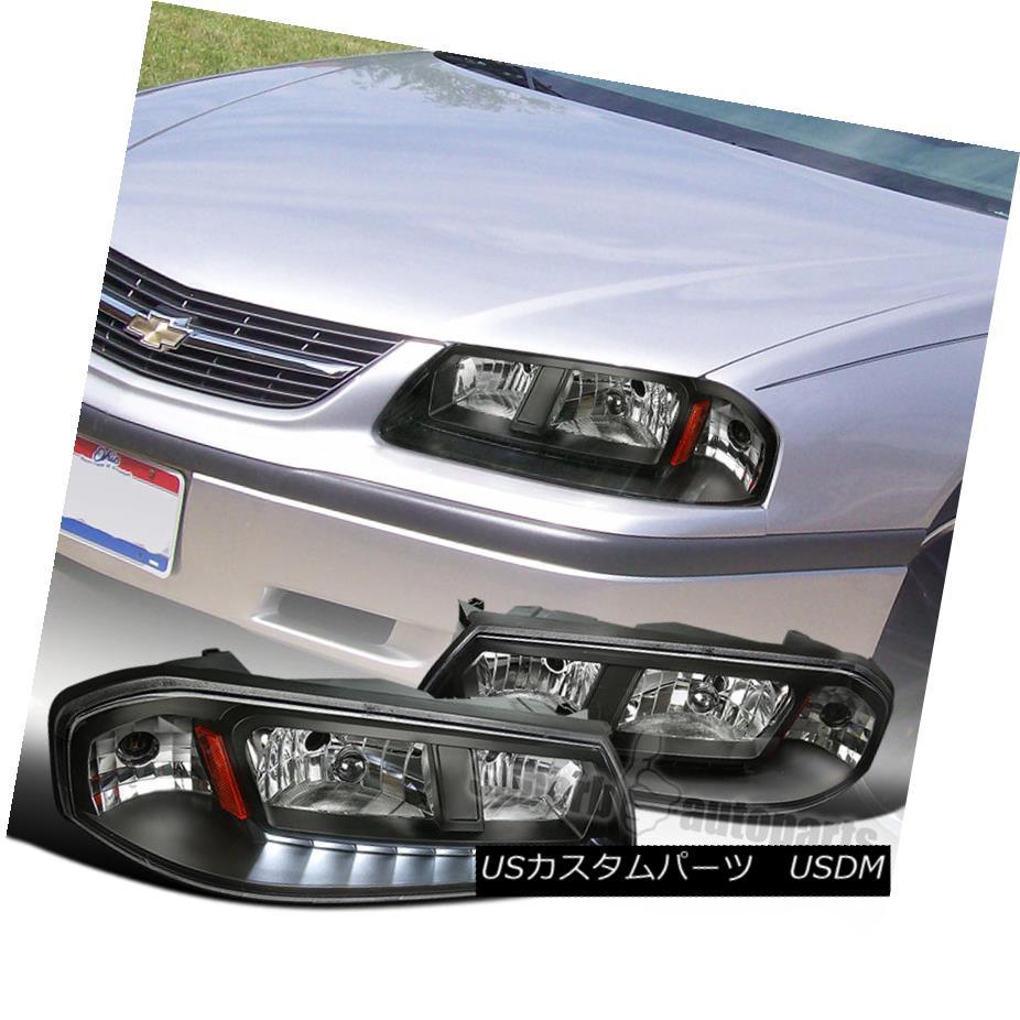 ヘッドライト 2000-2005 Chevy Impala JDM Black Clear/Crystal Lens LED SMD Headlights Pair 2000-2005シボレーインパラJDMブラッククリア/クリスタルレンズLED SMDヘッドライトペア
