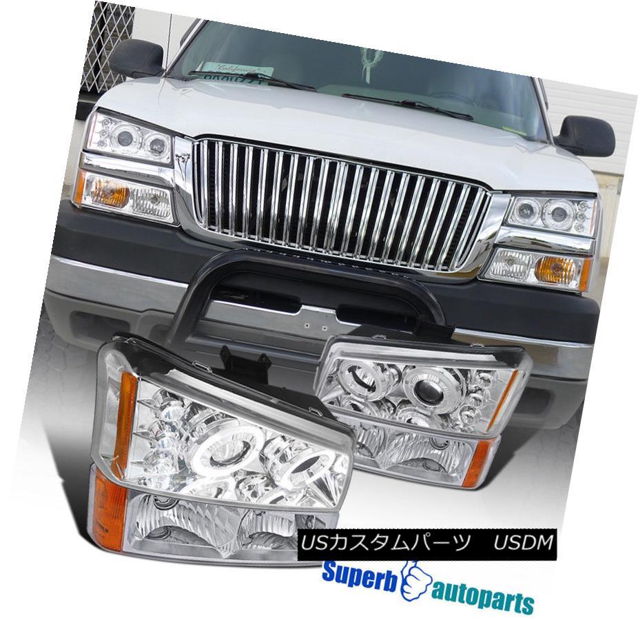 ヘッドライト 2003-2006 Chevy Silverado Crystal Chrome Projector LED Headlights+Bumper Lamps 2003-2006シボレーシルバラードクリスタルクロムプロジェクターLEDヘッドライト+バーン