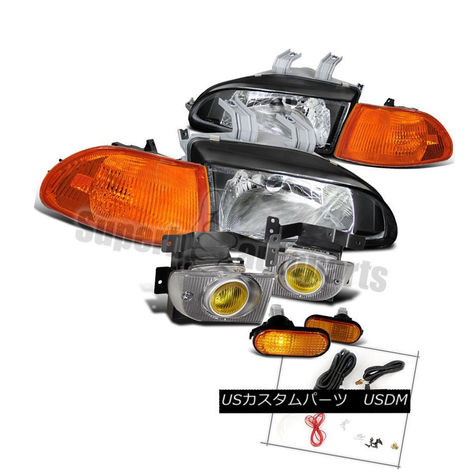 ヘッドライト For 92-95 Civic 4D Black Head Lights+Amber Corner Lamp+Smoke Fog+Flat Side Maker 92-95シビック4Dブラックヘッドライト+アンバーコーナーランプ+スモークフォグ+フラットサイドメーカー