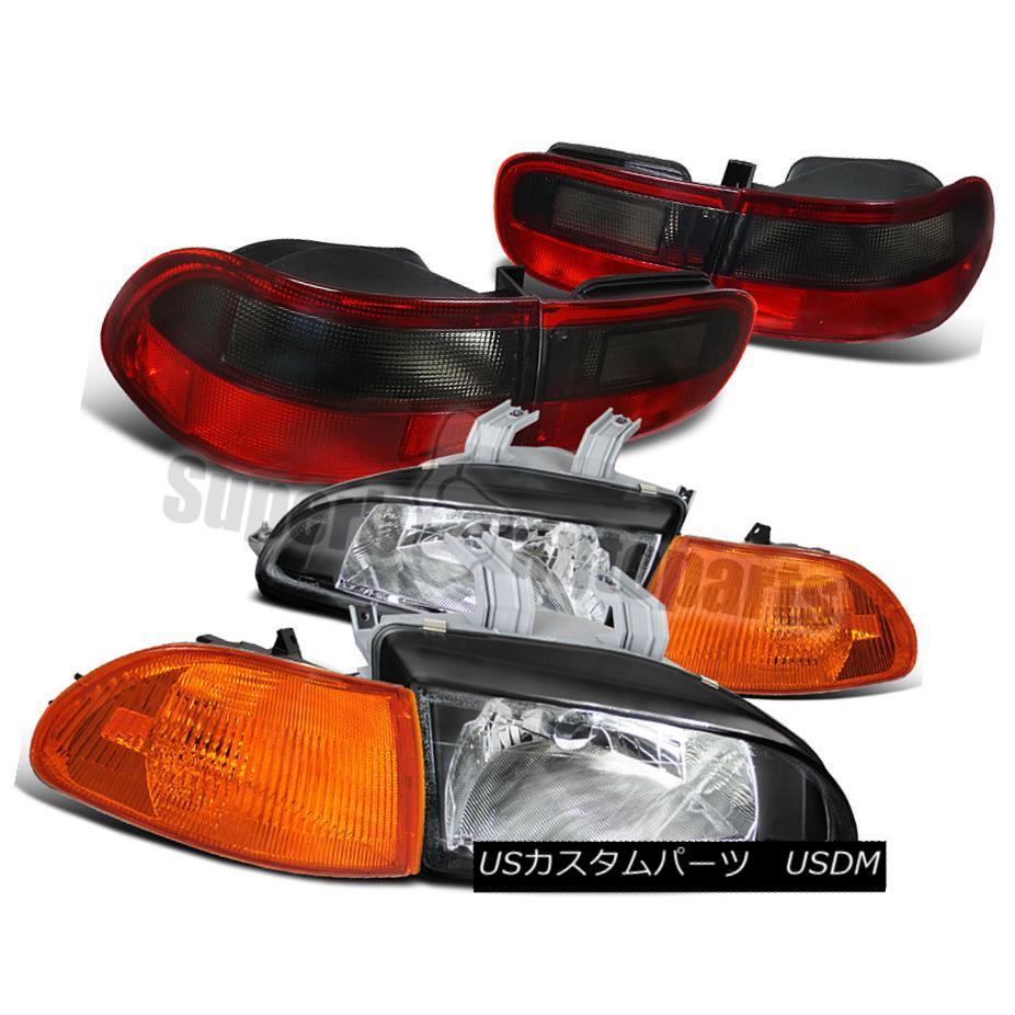 ヘッドライト For 1992-1995 Civic 4dr Headlight Black+Amber Corner Lights+Tail Lamp Smoke 1992-1995シビック4drヘッドライトブラック+アンバーコーナーライト+テールランプスモーク