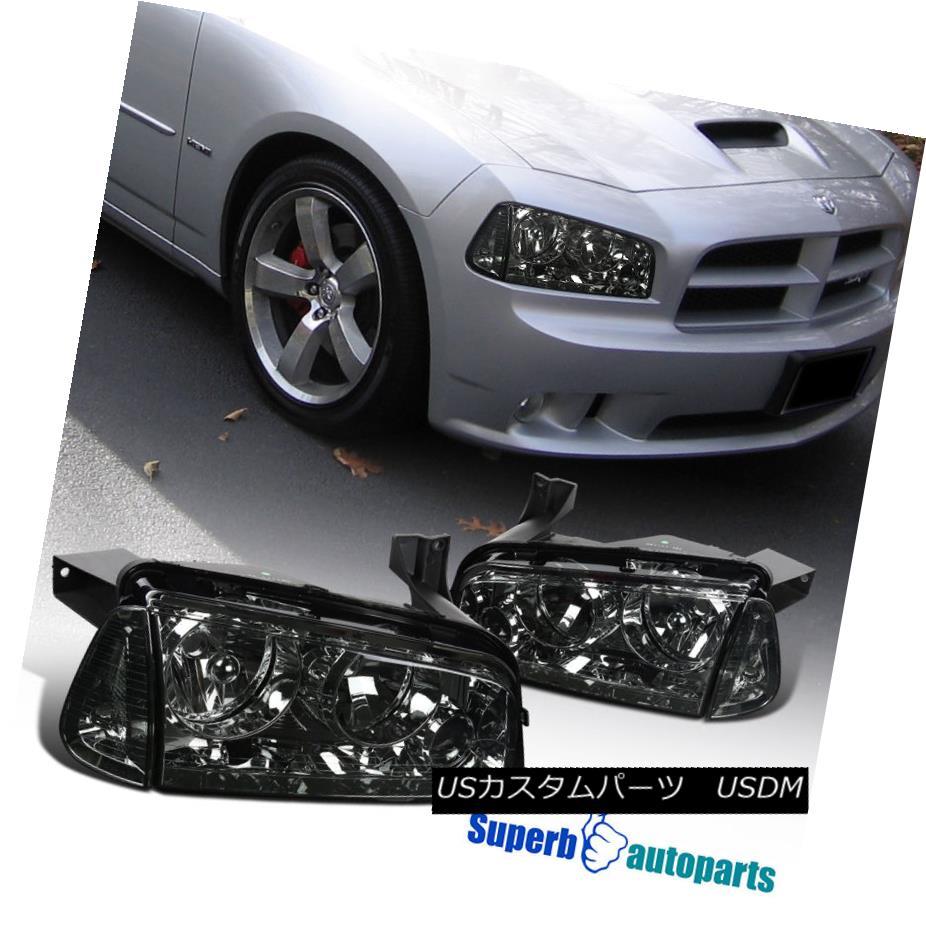 ヘッドライト 2006-2010 Dodge Charger Euro Chrome Smoke Headlights Replacement w/ Corner Lamps 2006-2010ダッジチャージャーユーロクロームスモークヘッドライト交換/コーナーランプ