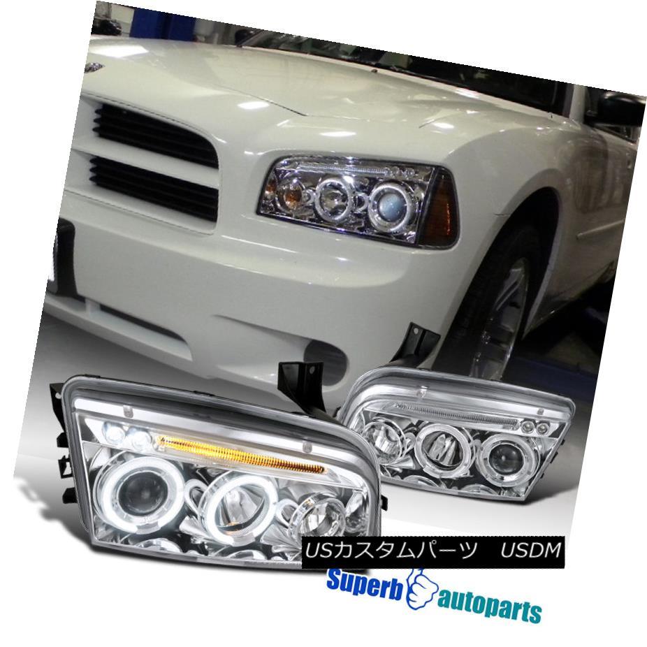 ヘッドライト 2006-2010 Dodge Charger Led Halo Smoke Projector Headlights Chrome SpecD Tuning 2006-2010 Dodge ChargerはHalo SmokeプロジェクターヘッドライトChrome SpecD Tuning