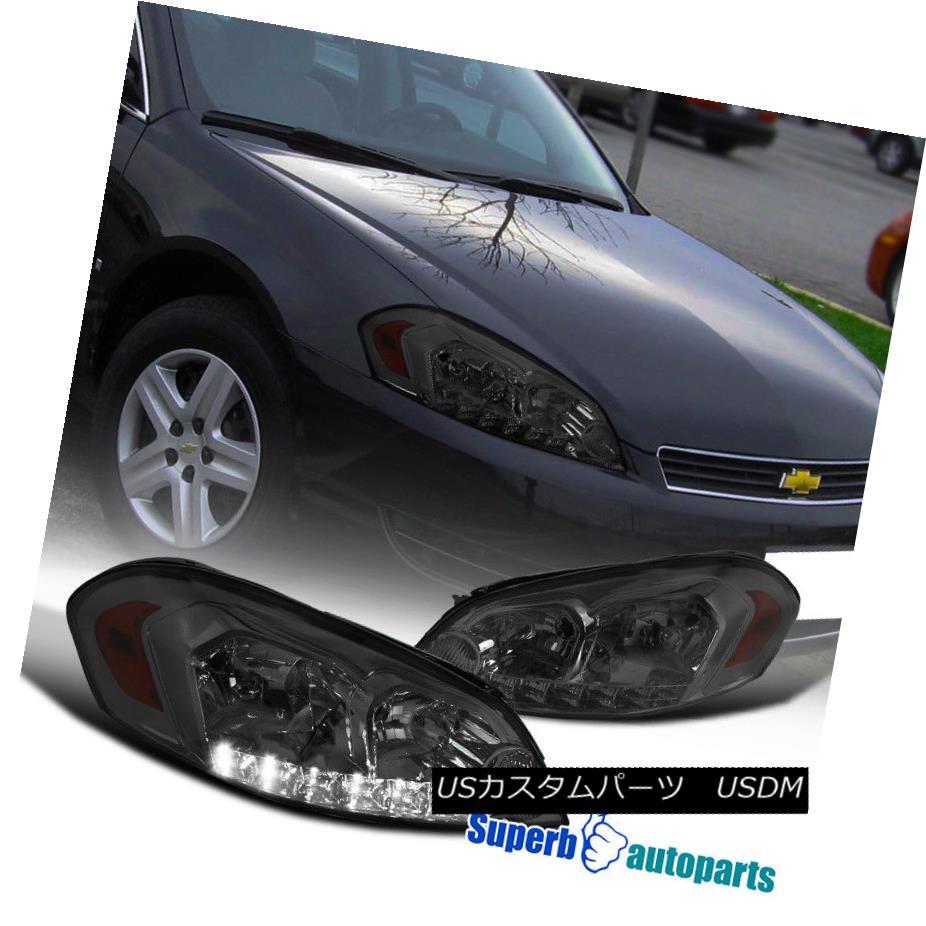 ヘッドライト Chevy 2006-2015 Impala 2006-2007 Monte Carlo Smoke LED DRL Headlights Head Lamps シボレー2006-2015インパラ2006-2007モンテカルロ煙LED DRLヘッドライトヘッドランプ