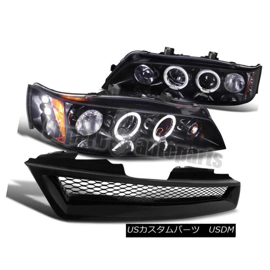 ヘッドライト For 1994-1997 Accord Led Halo Smoke Projector Headlight Glossy Black+Mesh Grille 1994-1997年Accord Led Halo SmokeプロジェクターヘッドライトGlossy Black + Mesh Grille