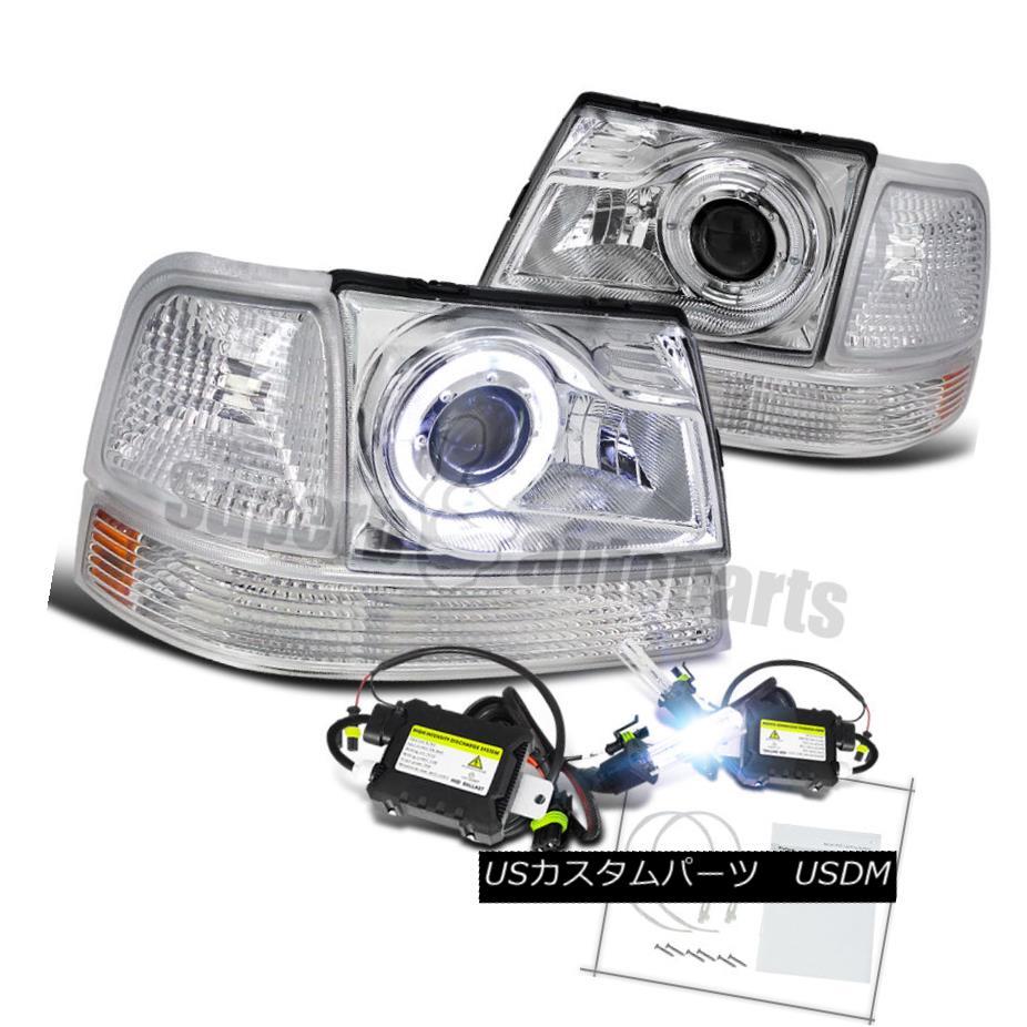 ヘッドライト 1998-2000 Ranger Halo Projector Headlights Chrome+Clear Corner Lamps+H1 Slim HID 1998-2000レンジャーハロープロジェクターヘッドライトクローム+クリアコーナーランプ+ H1スリムHID