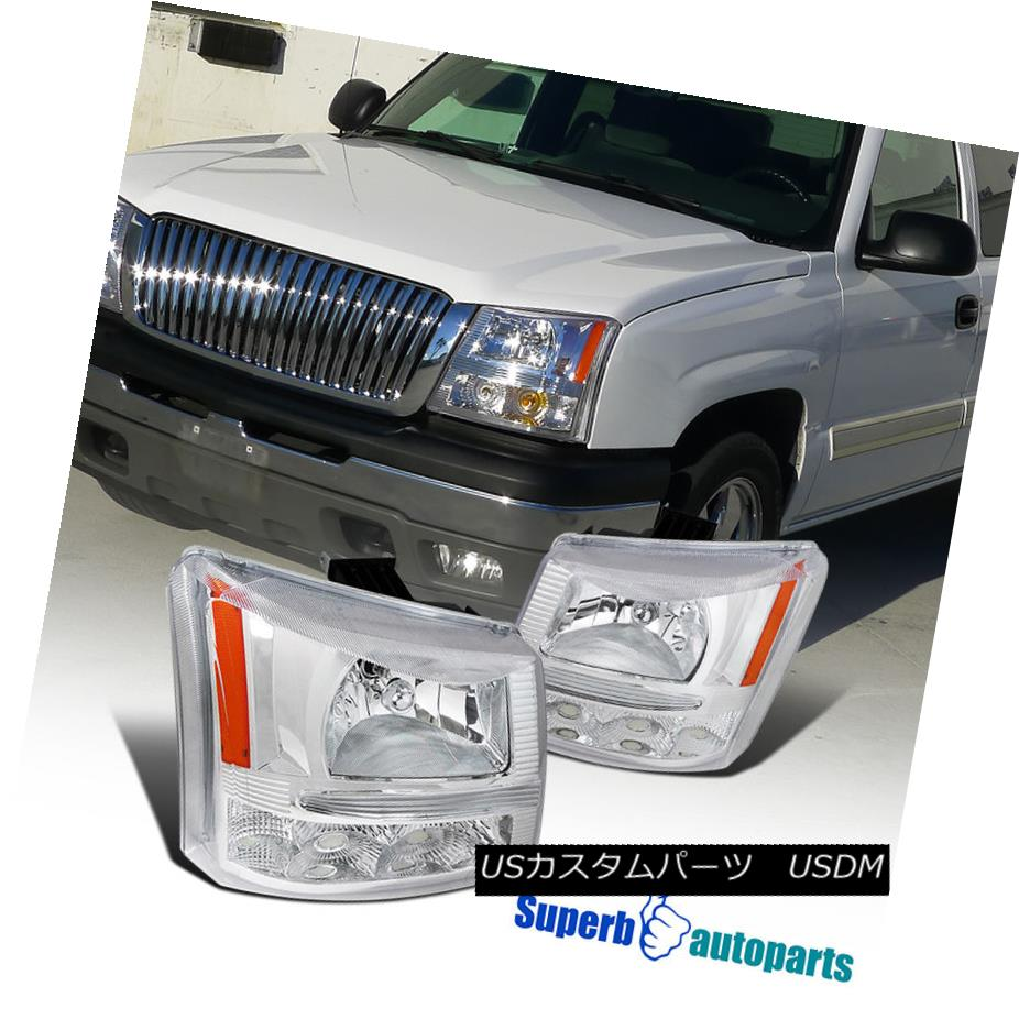 ヘッドライト 2003-2007 Chevy Silverado Clear Headlights Bumper Lamps Chrome Avalanche 2003-2007シボレーシルバラードクリアヘッドライトバンパーランプクロムアバランシェ