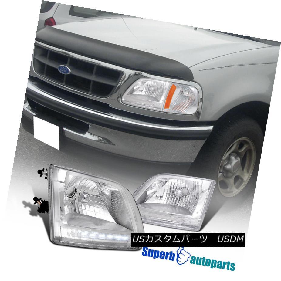 ヘッドライト 1997-2002 Ford F150 Expedition Crystal Clear LED Headlights Chrome 1997-2002フォードF150遠征クリスタルクリアLEDヘッドライトクローム