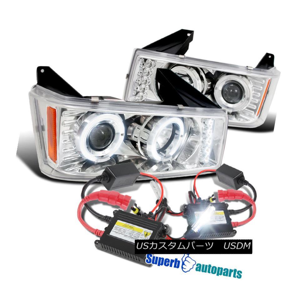 ヘッドライト 2004-2012 Colorado/ Canyon LED Halo Clear Projector Headlights+H1 Slim HID Kit 2004-2012コロラド/キャニオンLEDハロークリアプロジェクターヘッドライト+ H1スリムHIDキット
