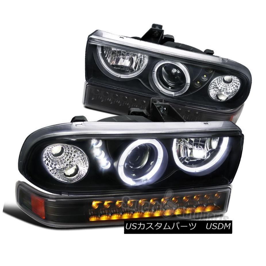 ヘッドライト 1998-2004 S10 Blazer Black LED Projector Halo Headlights+LED Bumper Lamps 1998-2004 S10 Blazer Black LEDプロジェクターHaloヘッドライト+ LEDバンパーランプ