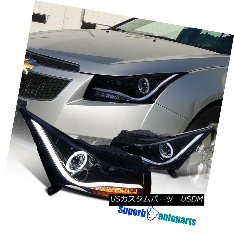 ヘッドライト 11-14 Chevy Cruze Smoke LED DRL Strip Halo Projector Headlights Glossy Black 11-14シェビークルーズの煙LED DRLストリップハロープロジェクターヘッドライト光沢のある黒