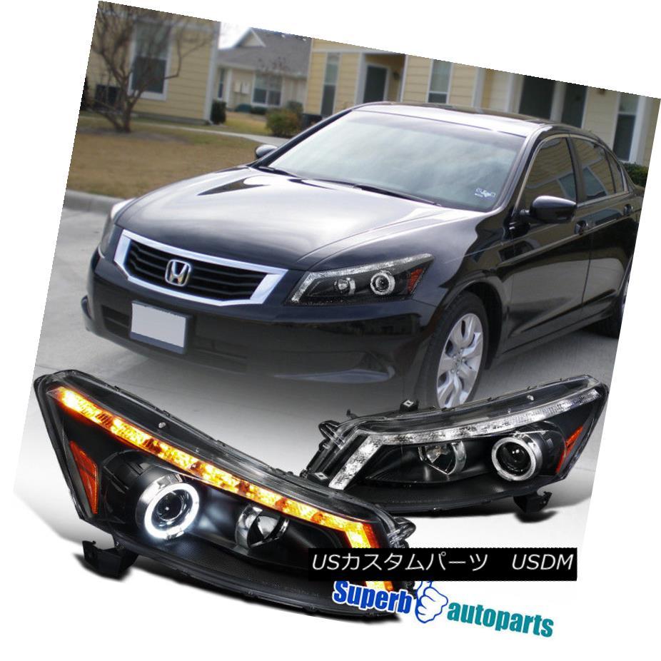 ヘッドライト For 2008-2012 Accord 4dr Sedan Halo LED Projector Headlight Black SpecD Tuning 2008年から2012年までのアコード4drセダン・ハローLEDプロジェクター・ヘッドライト・ブラック・スペック・チューニング