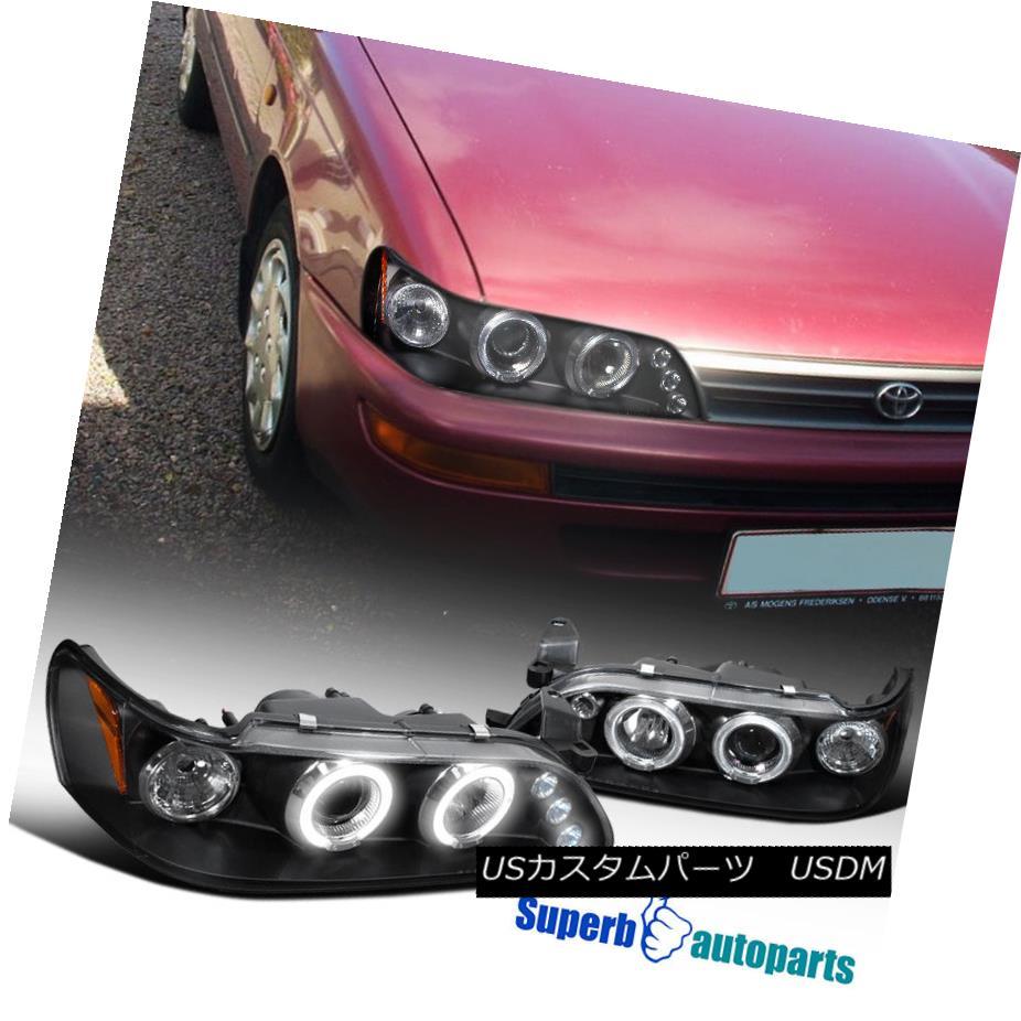 ヘッドライト 1993-1997 Toyota Corolla LED Halo Projector Headlights Black SpecD Tuning 1993-1997トヨタカローラLEDハロープロジェクターヘッドライトブラックスペックチューニング