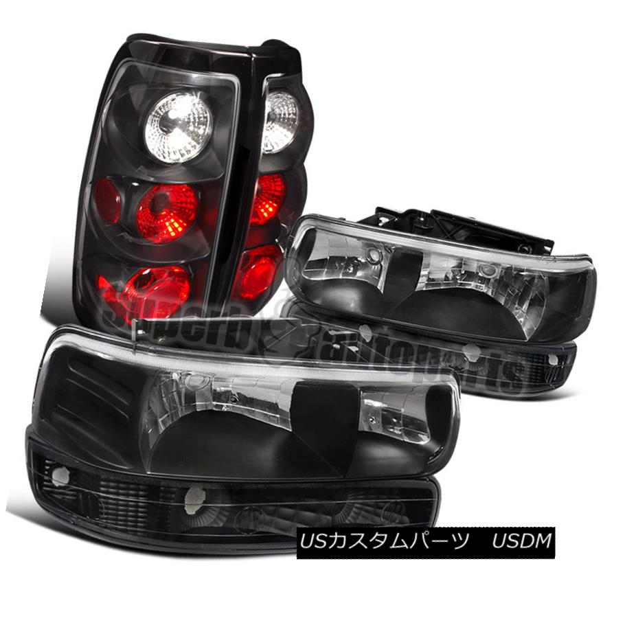 ヘッドライト 1999-2002 Chevy Silverado Fleetside Headlight+Bumper Lamp+Tail Brake Light Black 1999-2002 Chevy Silverado Fleetsideヘッドライト+バンプ ランプ+テールブレーキライトブラック